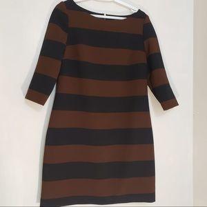 Le Chateau Brown&Black Stripe Quarter Sleeve Dress